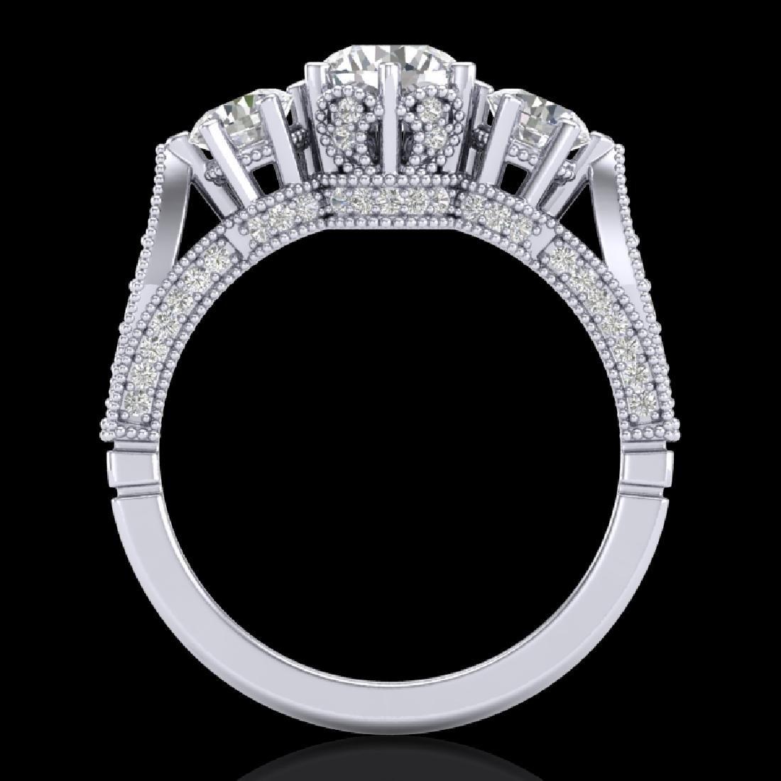 2.18 CTW VS/SI Diamond Art Deco 3 Stone Ring 18K White