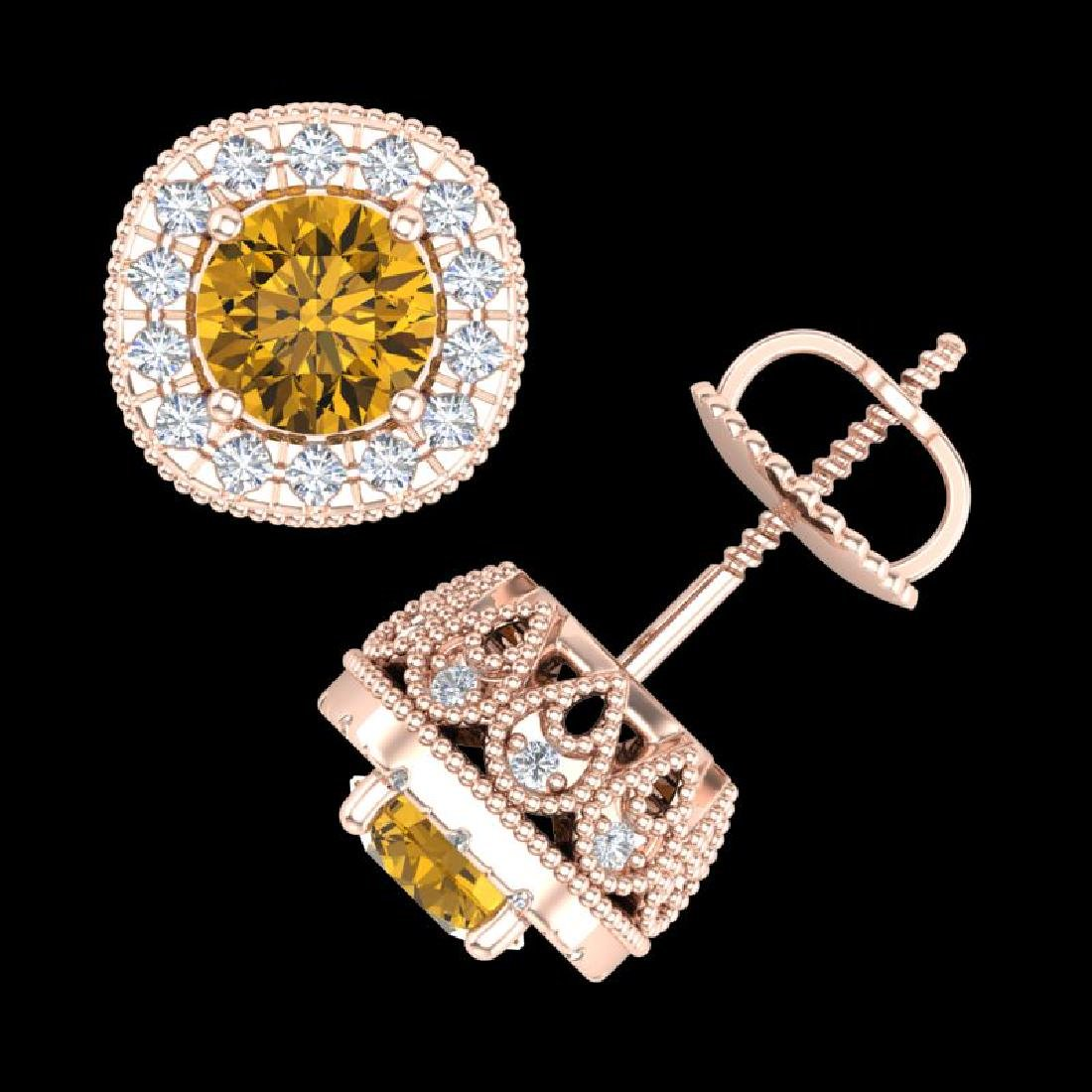 1.69 CTW Intense Fancy Yellow Diamond Art Deco Stud - 2