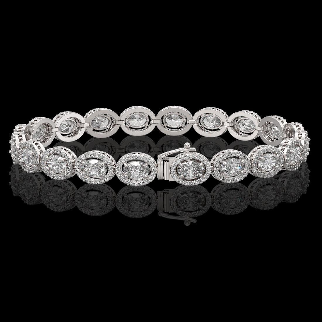 13.25 CTW Oval Diamond Designer Bracelet 18K White Gold - 2