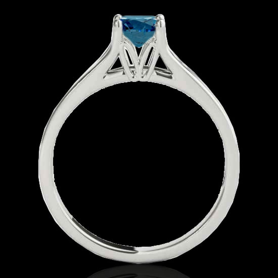 1 CTW SI Certified Fancy Blue Diamond Solitaire Ring - 2