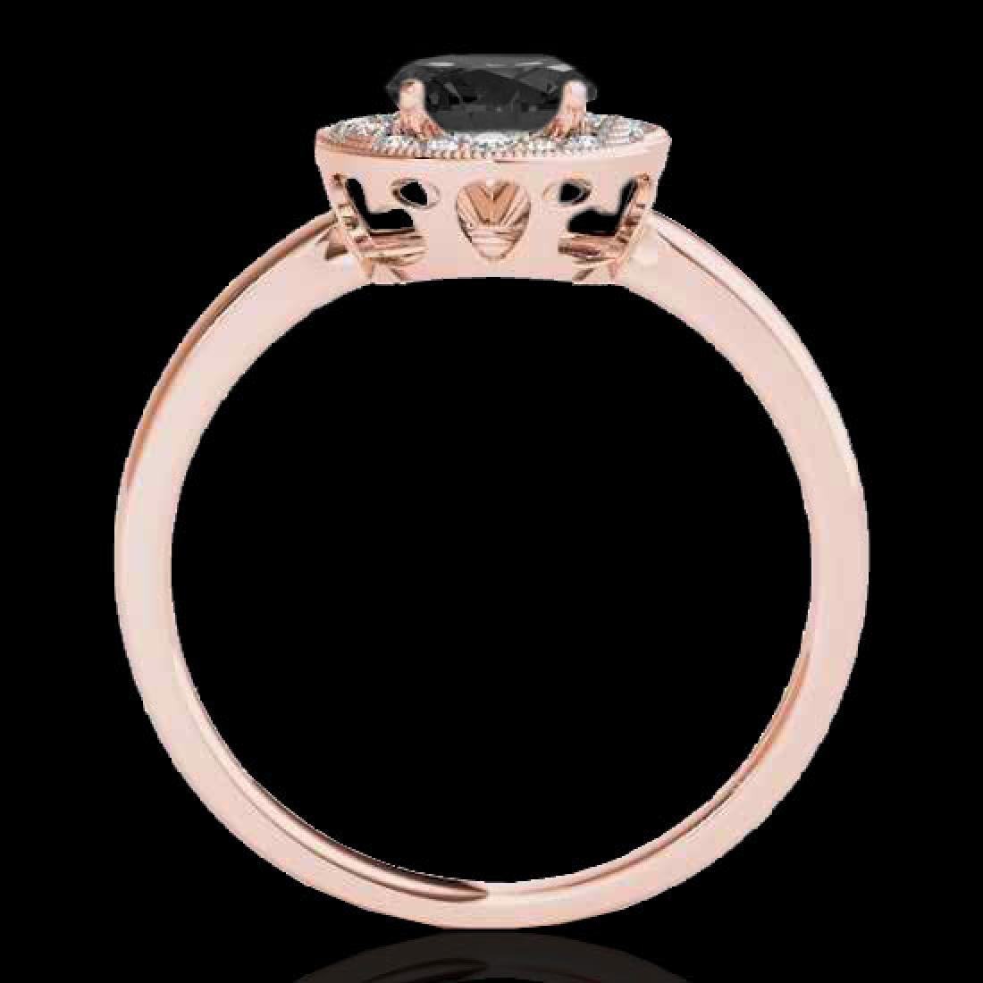 1.15 CTW Certified VS Black Diamond Solitaire Halo Ring - 2