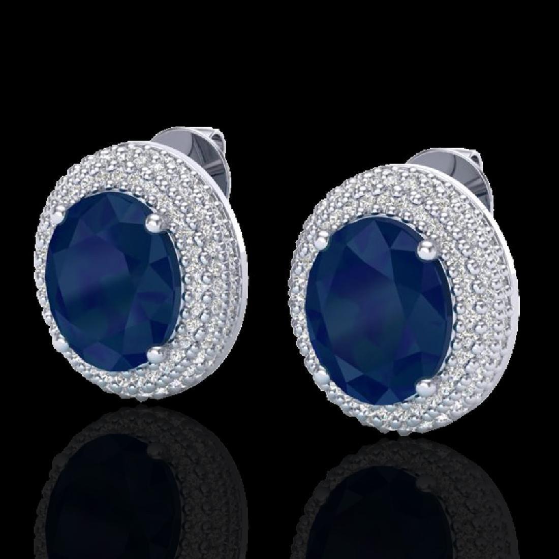 9.20 CTW Sapphire & Micro Pave VS/SI Diamond Earrings