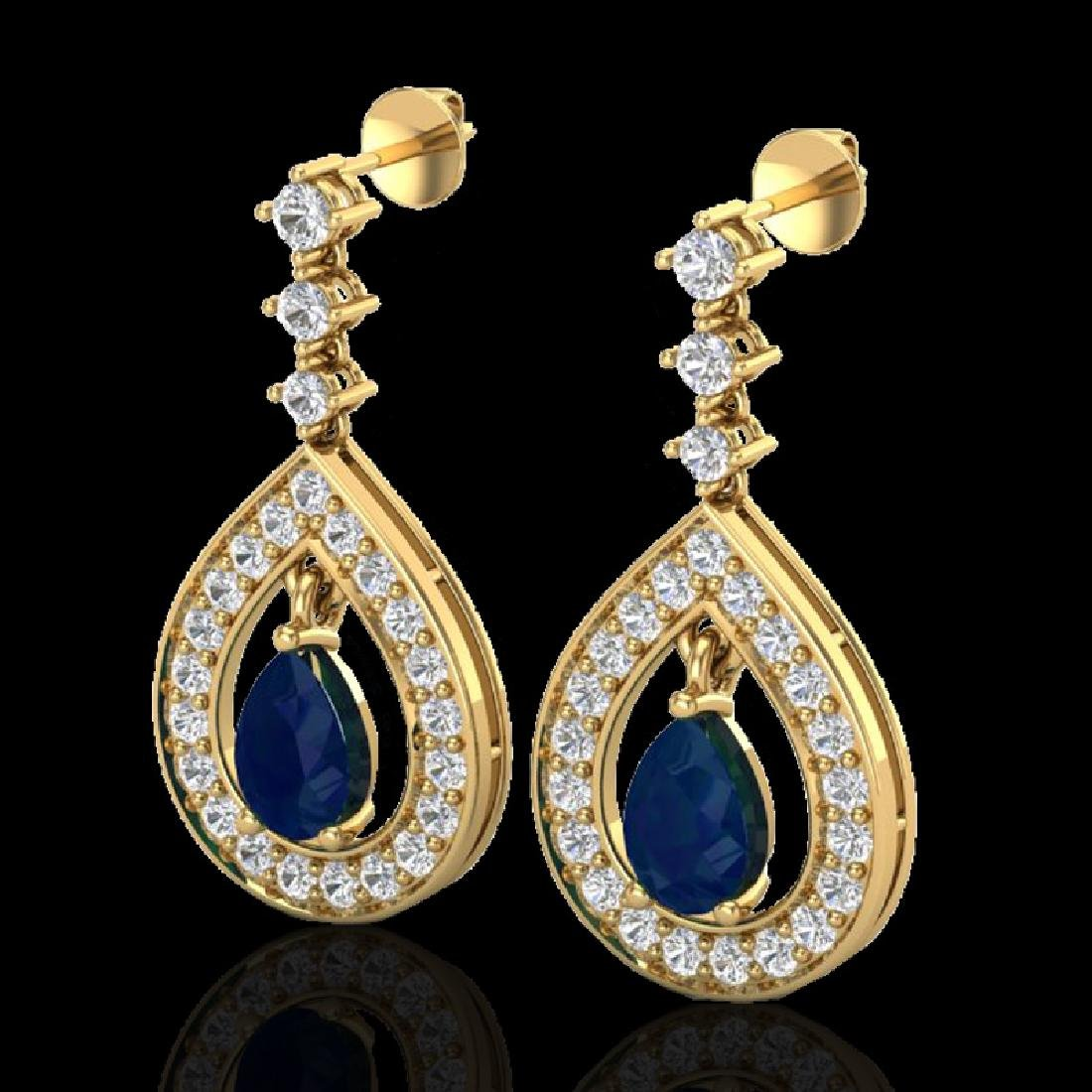 2.25 CTW Sapphire & Micro Pave VS/SI Diamond Earrings
