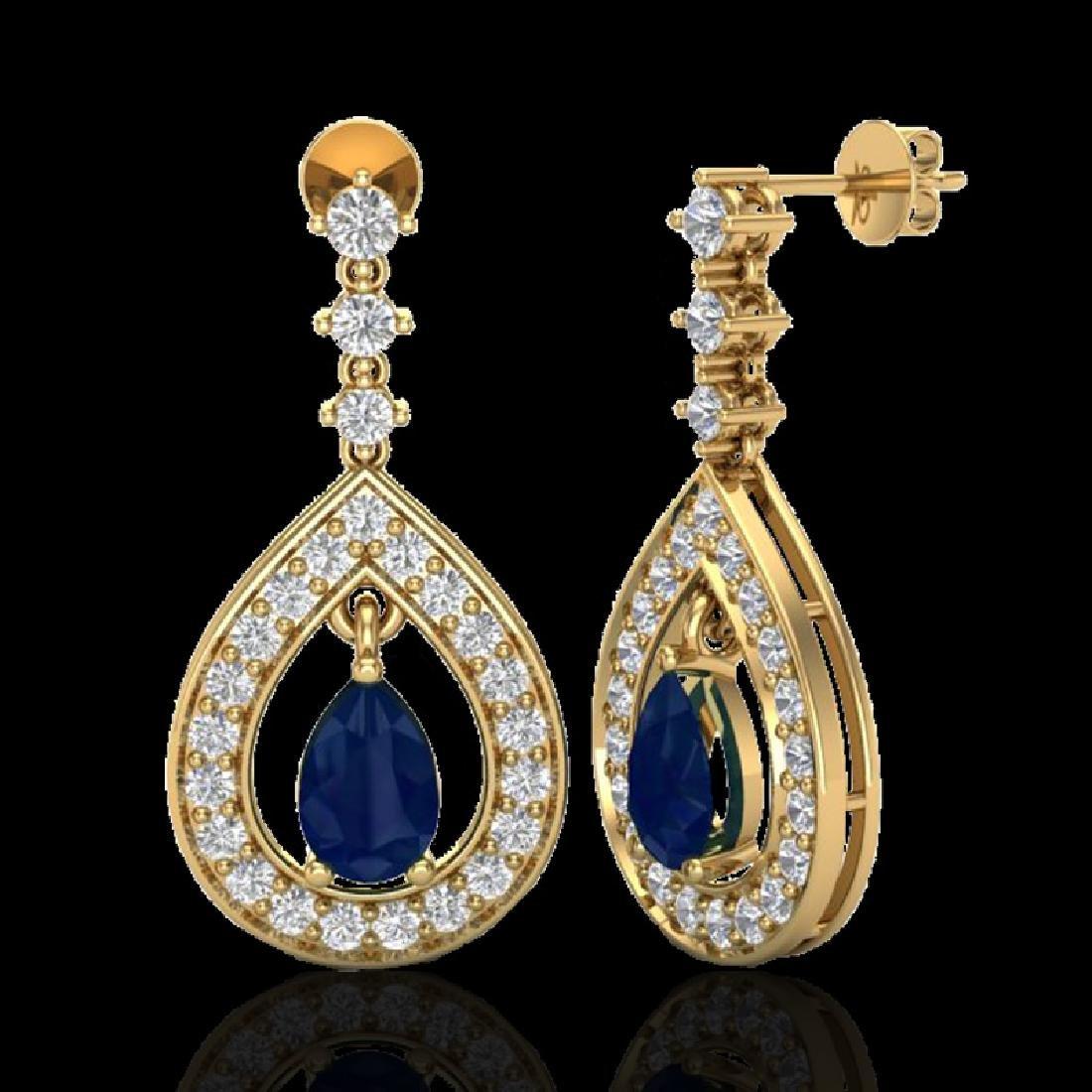 2.25 CTW Sapphire & Micro Pave VS/SI Diamond Earrings - 2