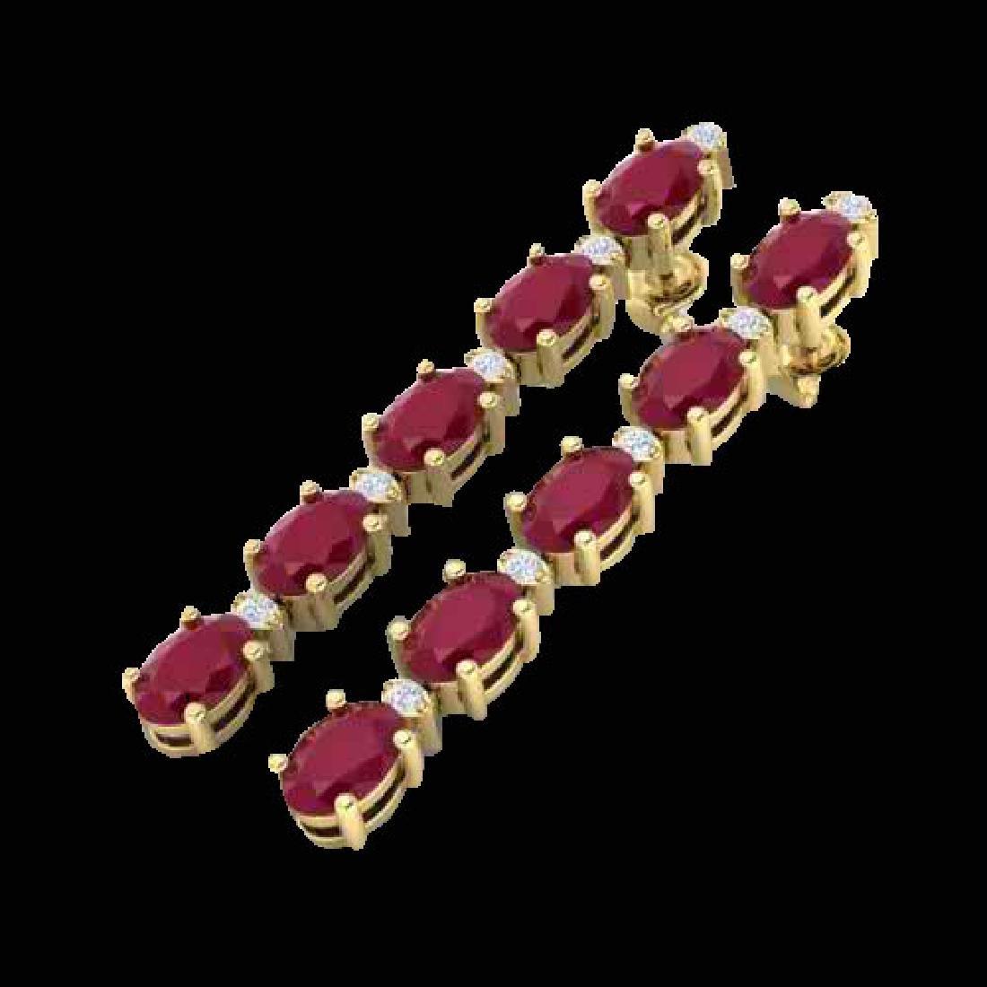 7 CTW Ruby & VS/SI Diamond Tennis Earrings 10K Yellow