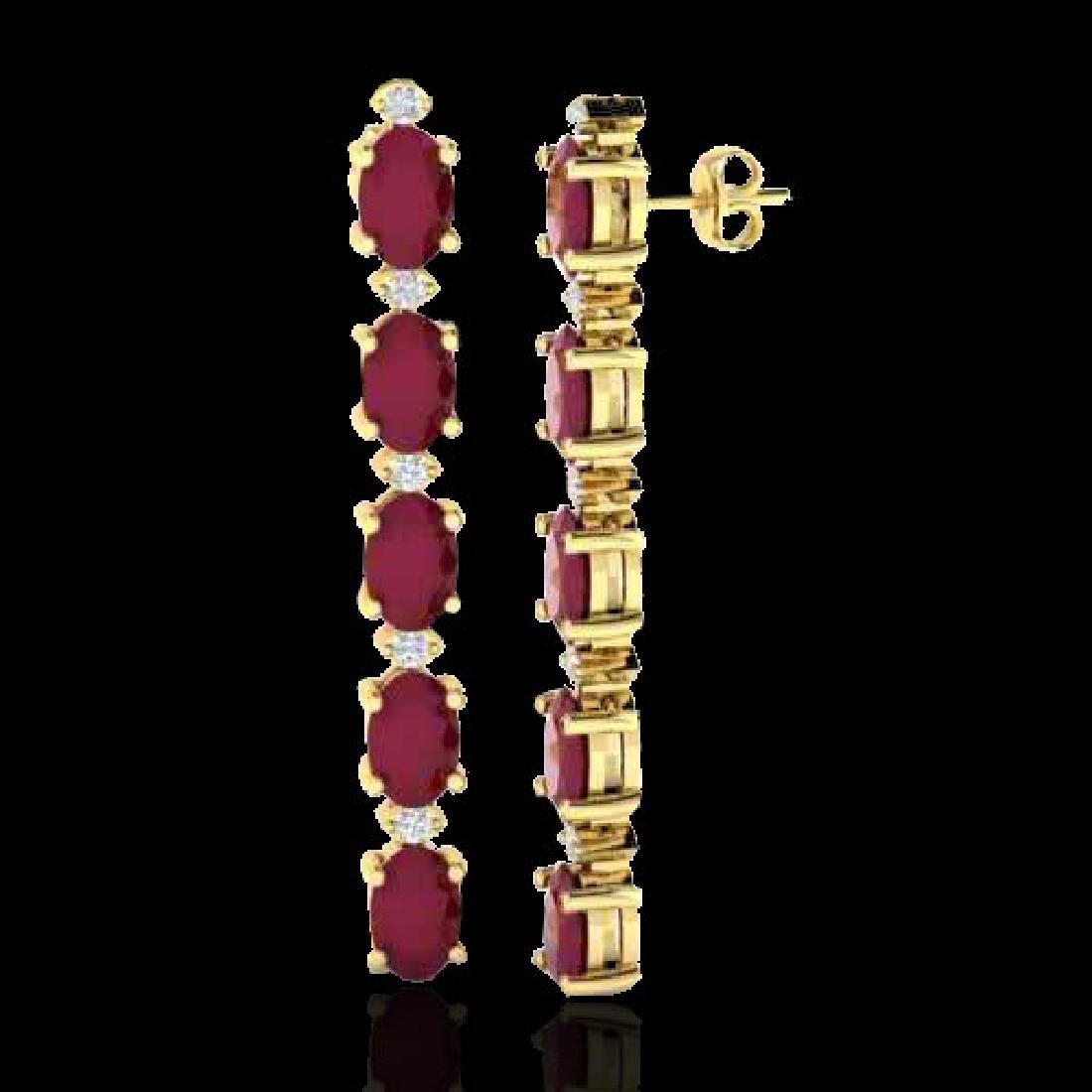 7 CTW Ruby & VS/SI Diamond Tennis Earrings 10K Yellow - 2