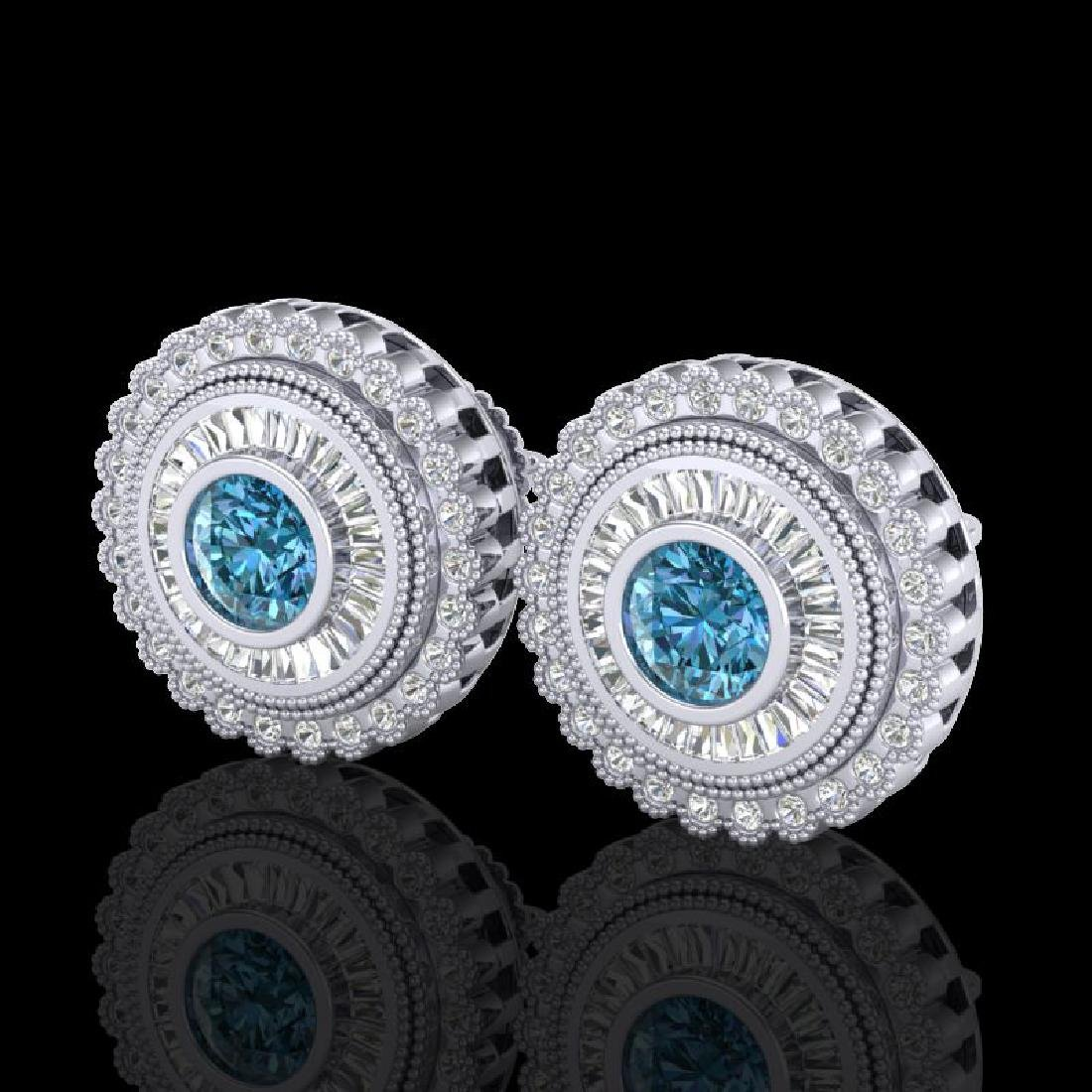 2.61 CTW Fancy Intense Blue Diamond Art Deco Stud