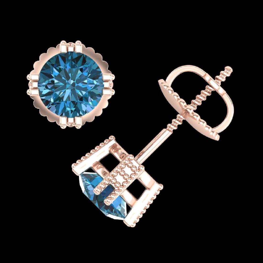 1.07 CTW Fancy Intense Blue Diamond Art Deco Stud - 3