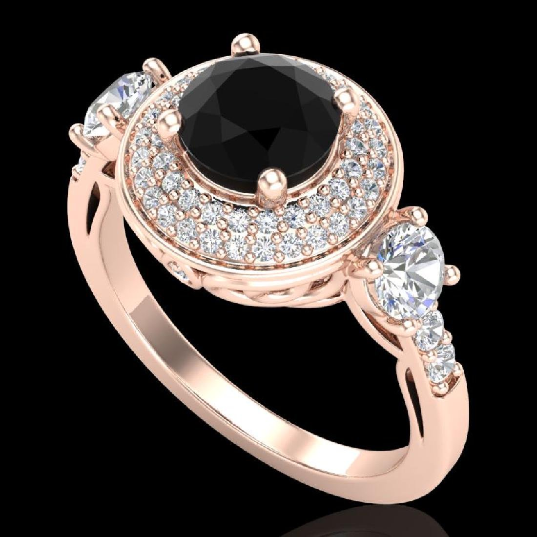 2.05 CTW Fancy Black Diamond Solitaire Art Deco 3 Stone