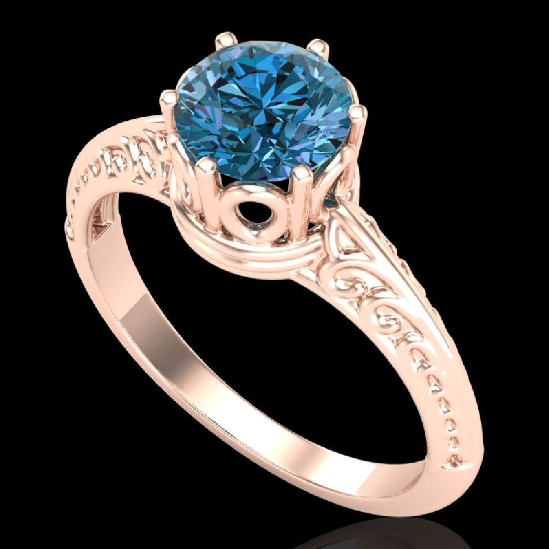 1 CTW Intense Blue Diamond Solitaire Engagement Art