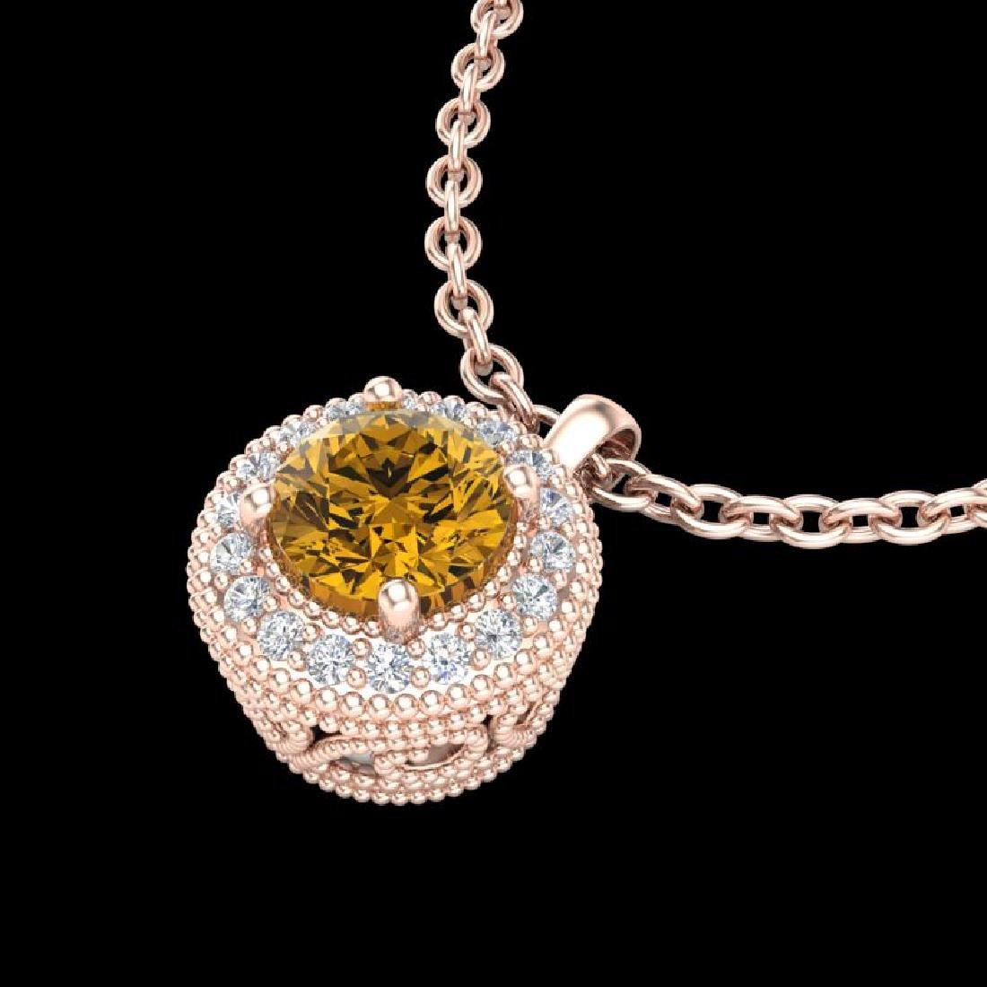 1 CTW Intense Fancy Yellow Diamond Solitaire Art Deco