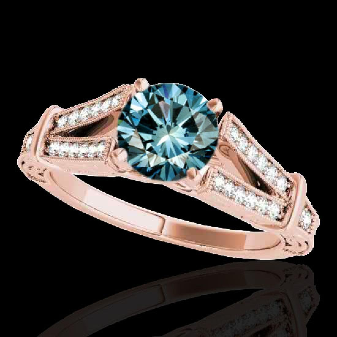 1.25 CTW SI Certified Blue Diamond Solitaire Antique