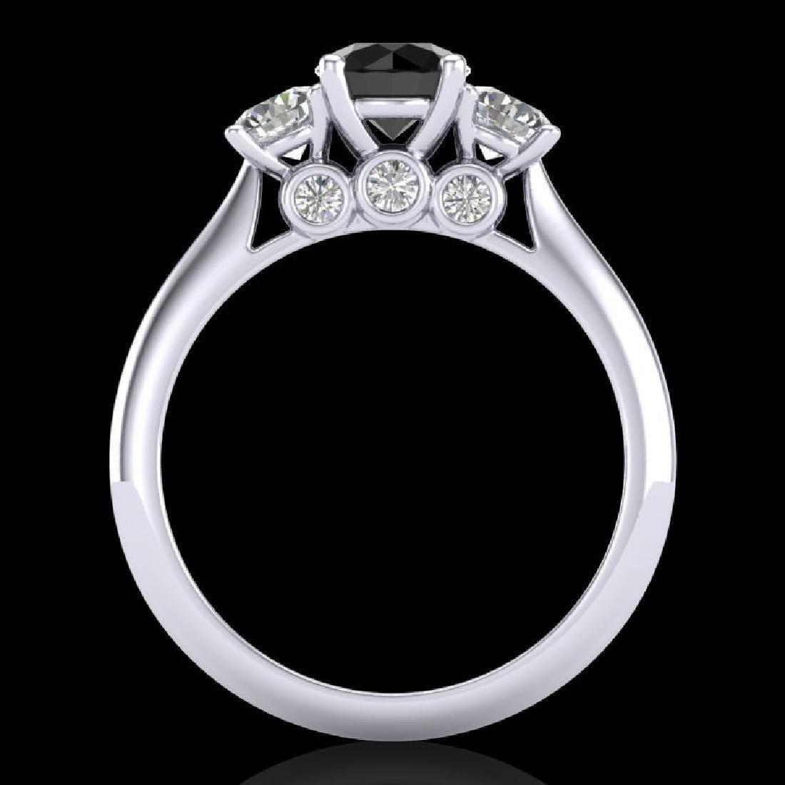 1.5 CTW Fancy Black Diamond Solitaire Art Deco 3 Stone - 3
