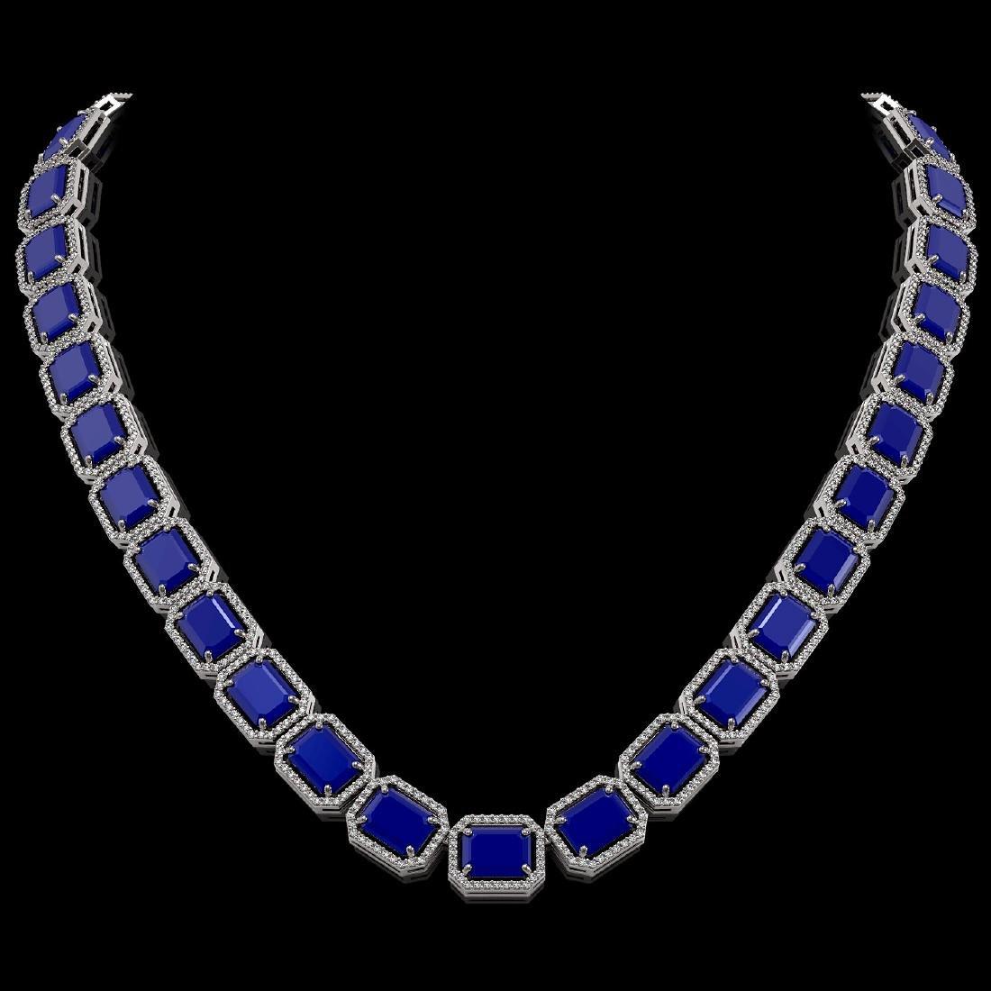 84.94 CTW Sapphire & Diamond Halo Necklace 10K White