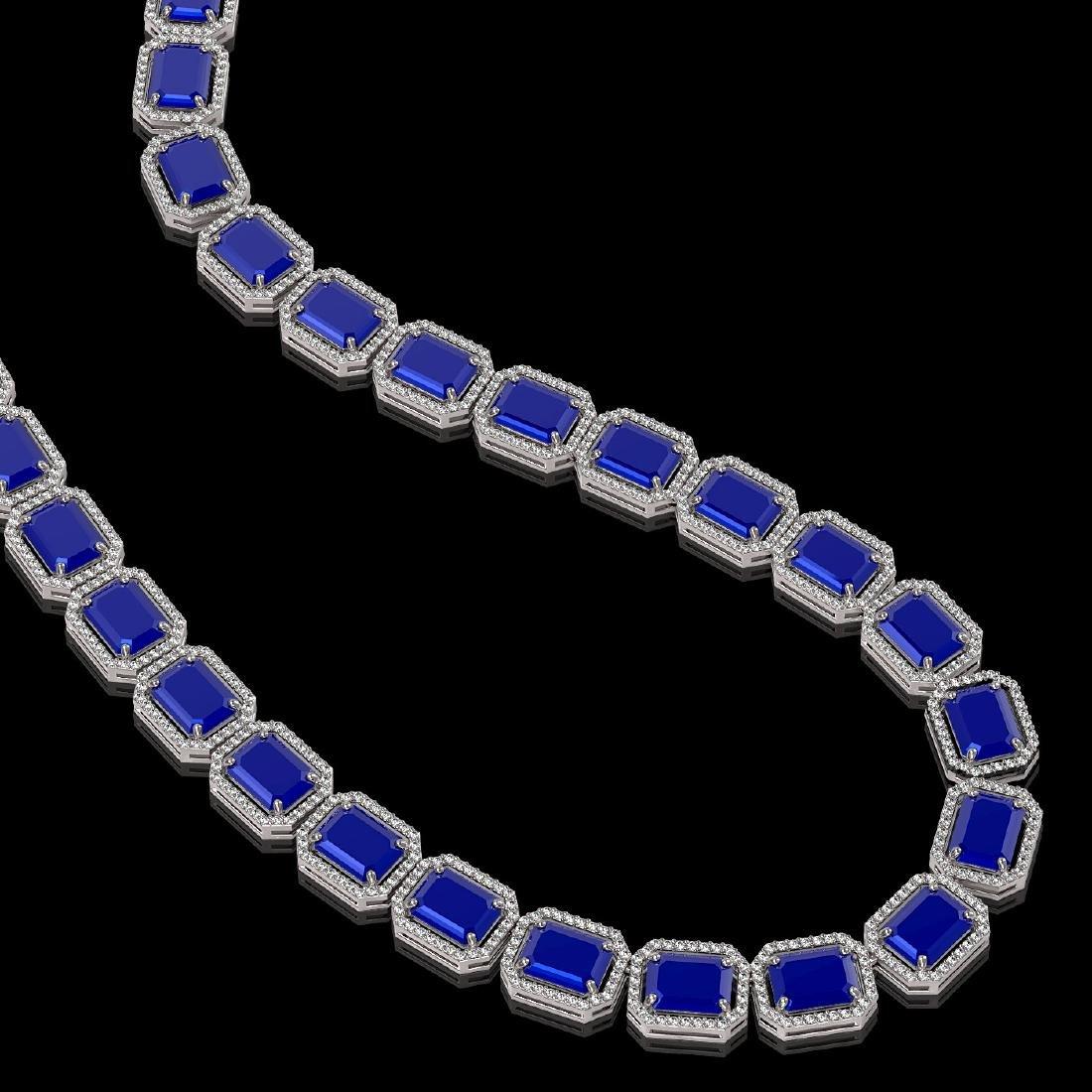 84.94 CTW Sapphire & Diamond Halo Necklace 10K White - 2