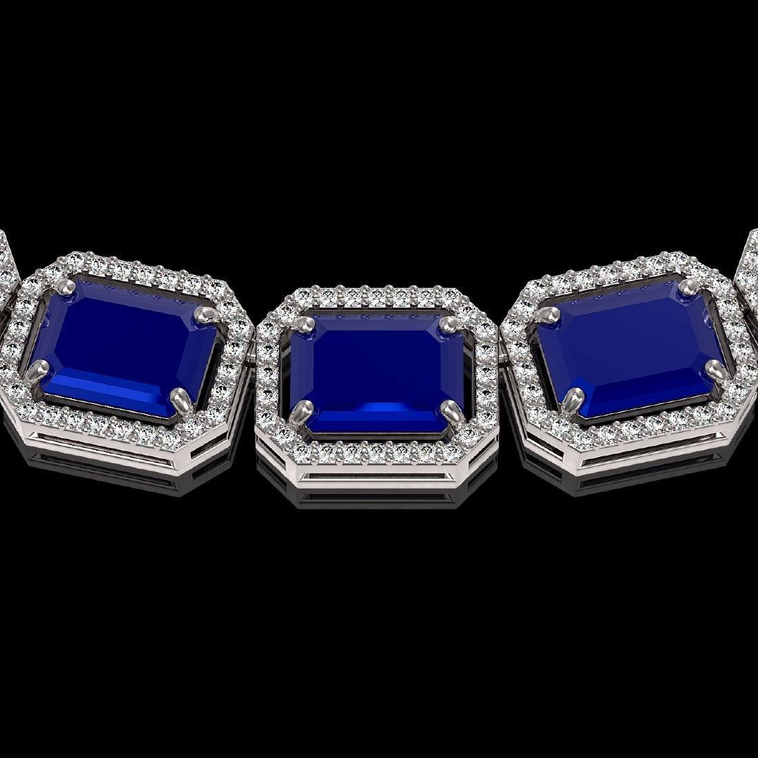 84.94 CTW Sapphire & Diamond Halo Necklace 10K White - 3