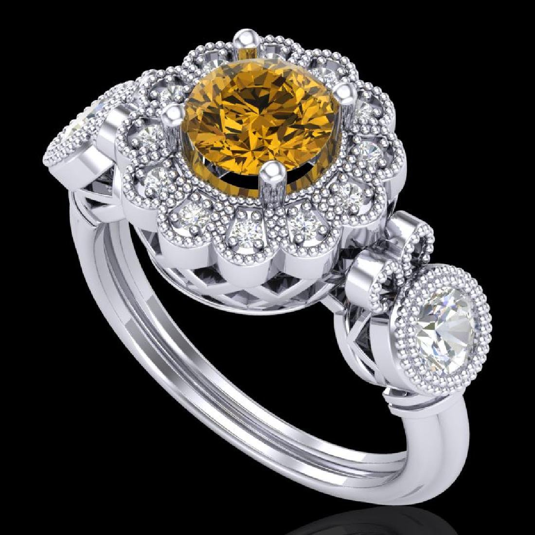 1.5 CTW Intense Fancy Yellow Diamond Art Deco 3 Stone