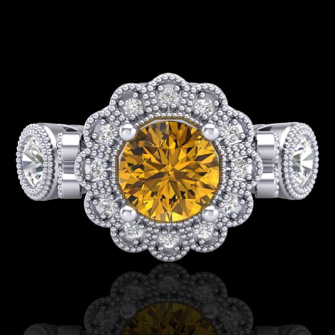 1.5 CTW Intense Fancy Yellow Diamond Art Deco 3 Stone - 2