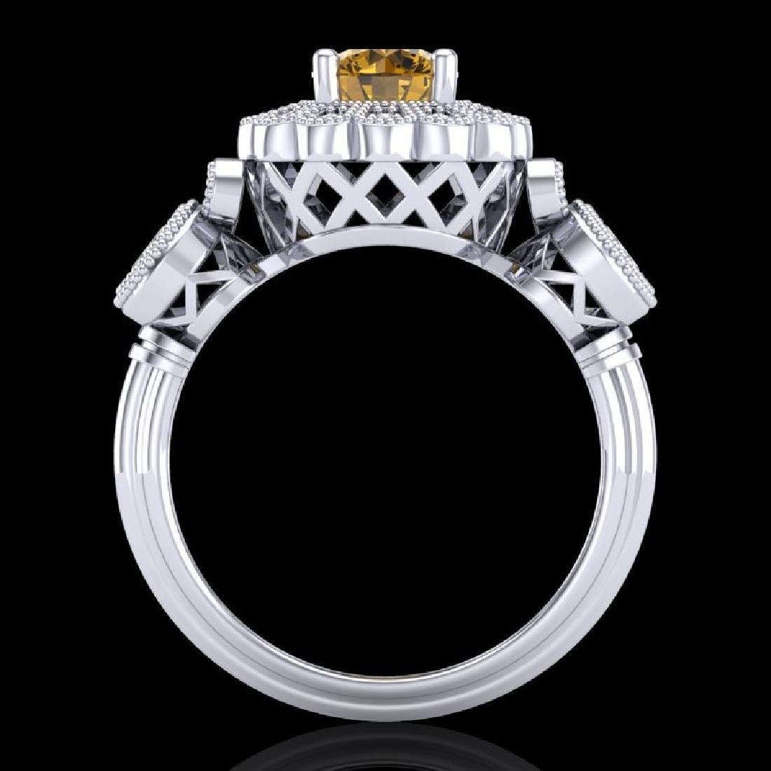 1.5 CTW Intense Fancy Yellow Diamond Art Deco 3 Stone - 3