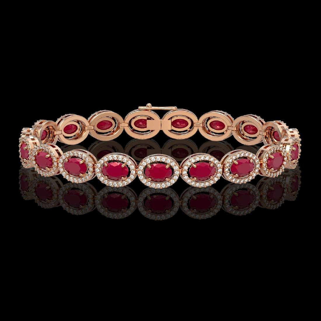 15.2 CTW Ruby & Diamond Halo Bracelet 10K Rose Gold