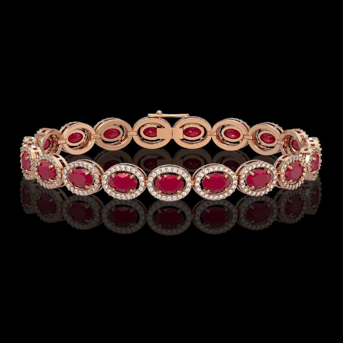 15.2 CTW Ruby & Diamond Halo Bracelet 10K Rose Gold