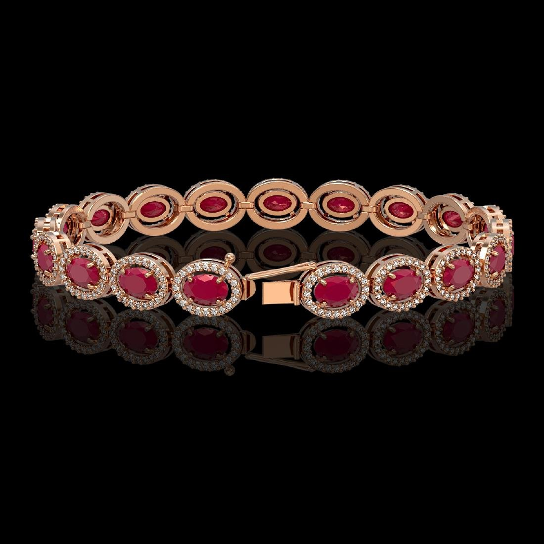 15.2 CTW Ruby & Diamond Halo Bracelet 10K Rose Gold - 2