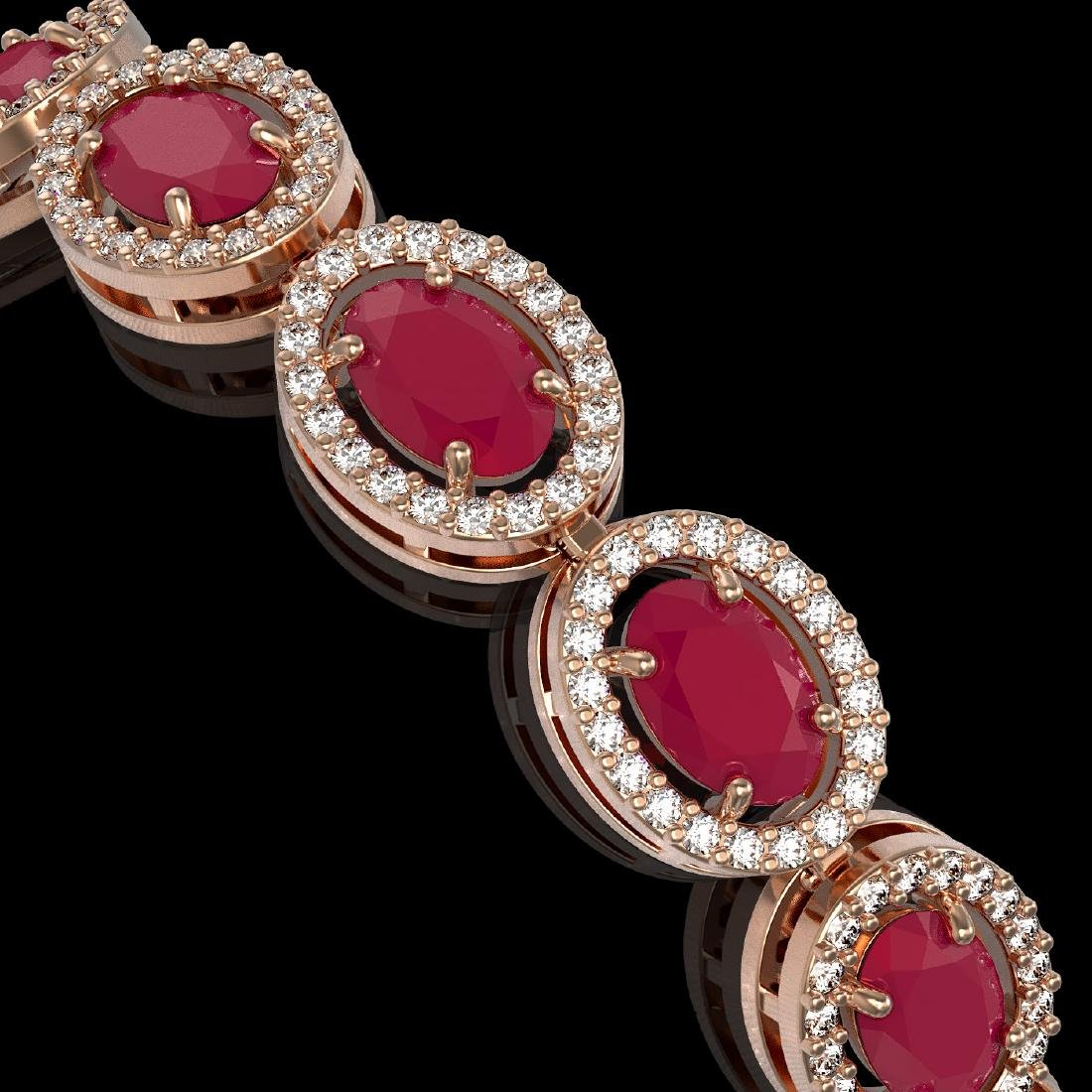 15.2 CTW Ruby & Diamond Halo Bracelet 10K Rose Gold - 3