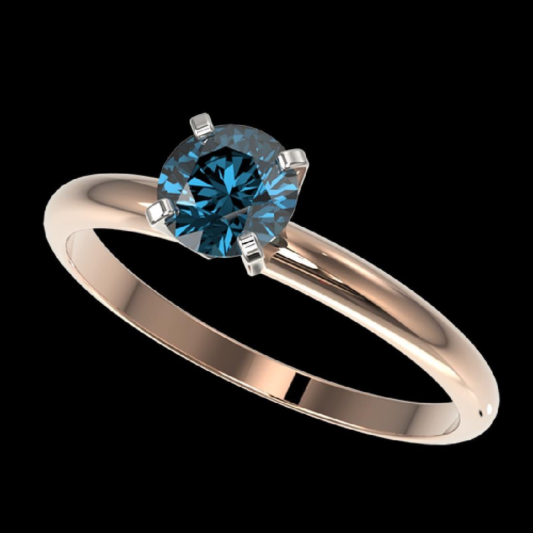 0.77 CTW Certified Intense Blue SI Diamond Solitaire
