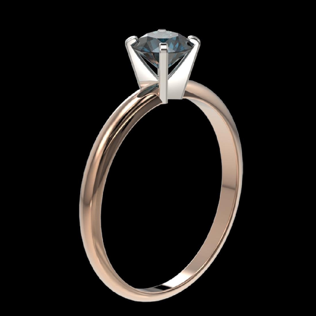 0.77 CTW Certified Intense Blue SI Diamond Solitaire - 3