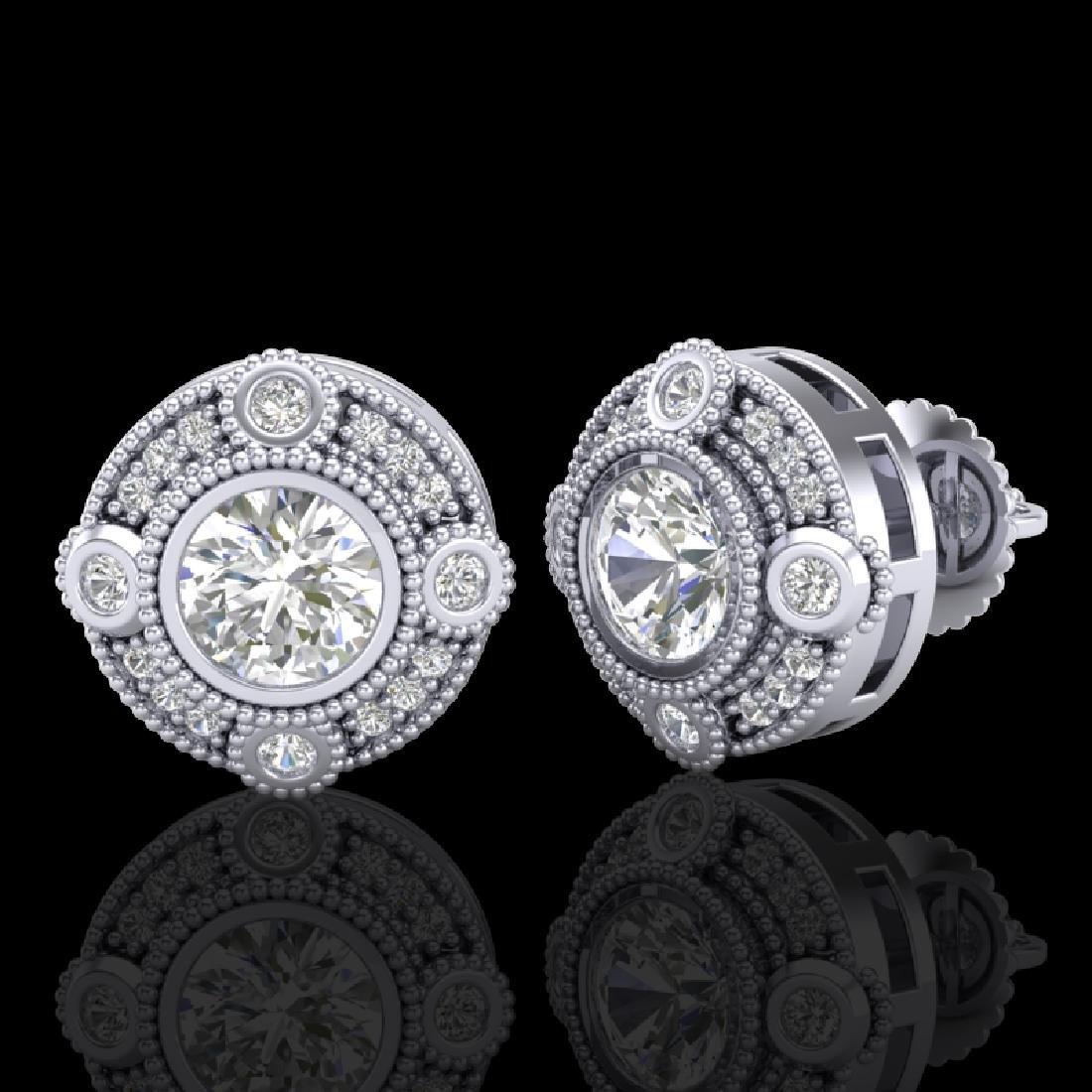 1.5 CTW VS/SI Diamond Solitaire Art Deco Stud Earrings - 2