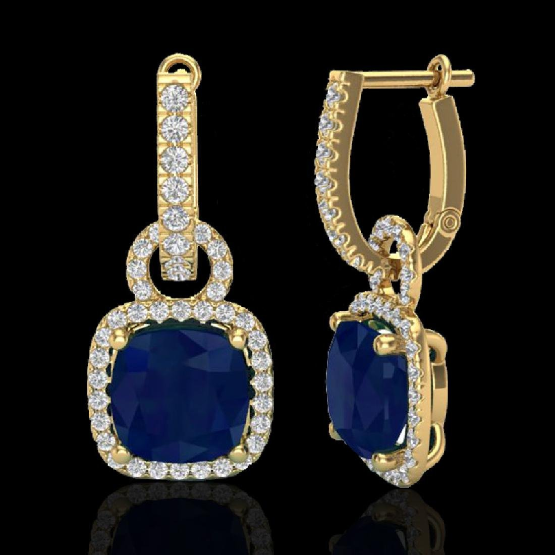 6 CTW Sapphire & Micro Pave VS/SI Diamond Earrings 18K - 2