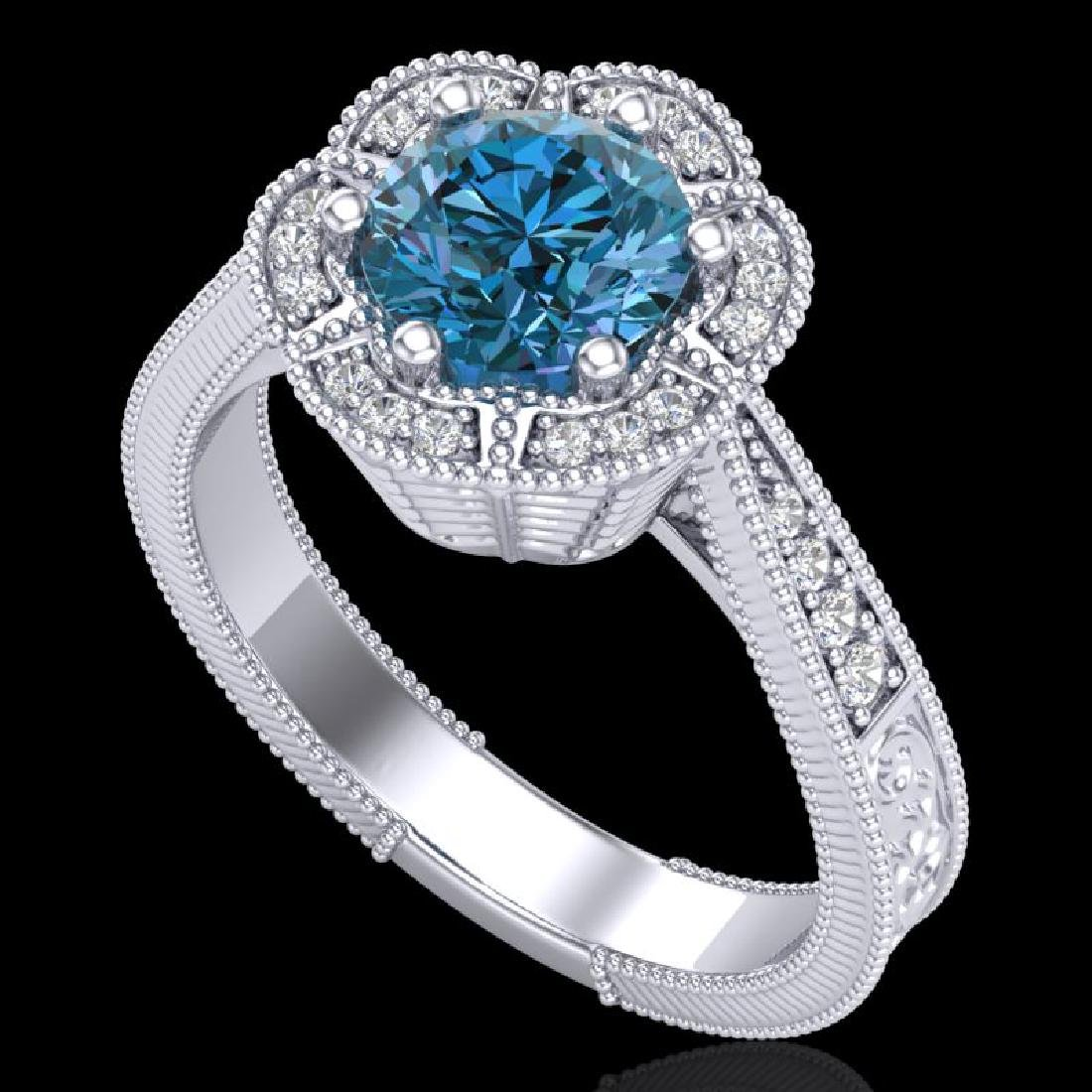 1.33 CTW Fancy Intense Blue Diamond Solitaire Art Deco
