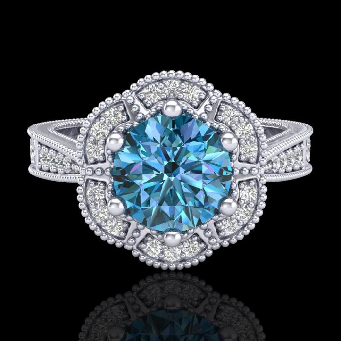 1.33 CTW Fancy Intense Blue Diamond Solitaire Art Deco - 2