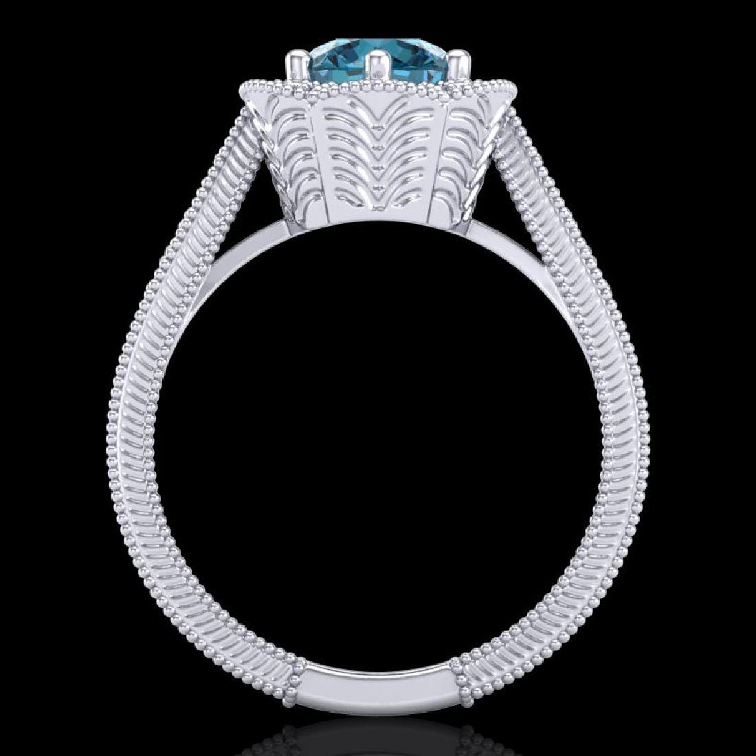 1.33 CTW Fancy Intense Blue Diamond Solitaire Art Deco - 3