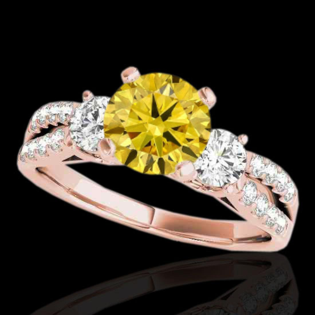 1.5 CTW Certified Si Intense Yellow Diamond 3 Stone