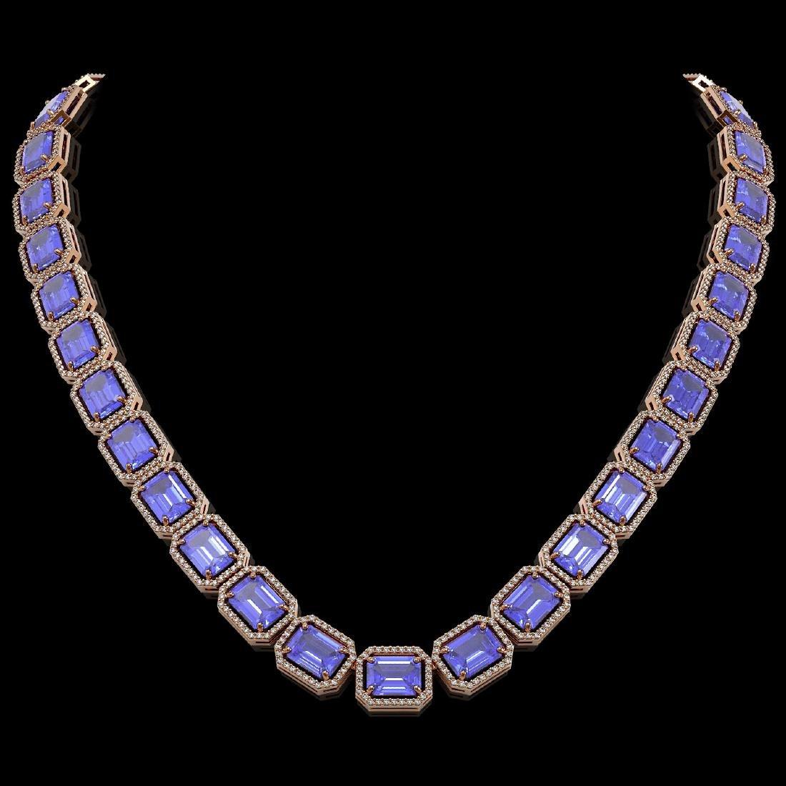 79.99 CTW Tanzanite & Diamond Halo Necklace 10K Rose