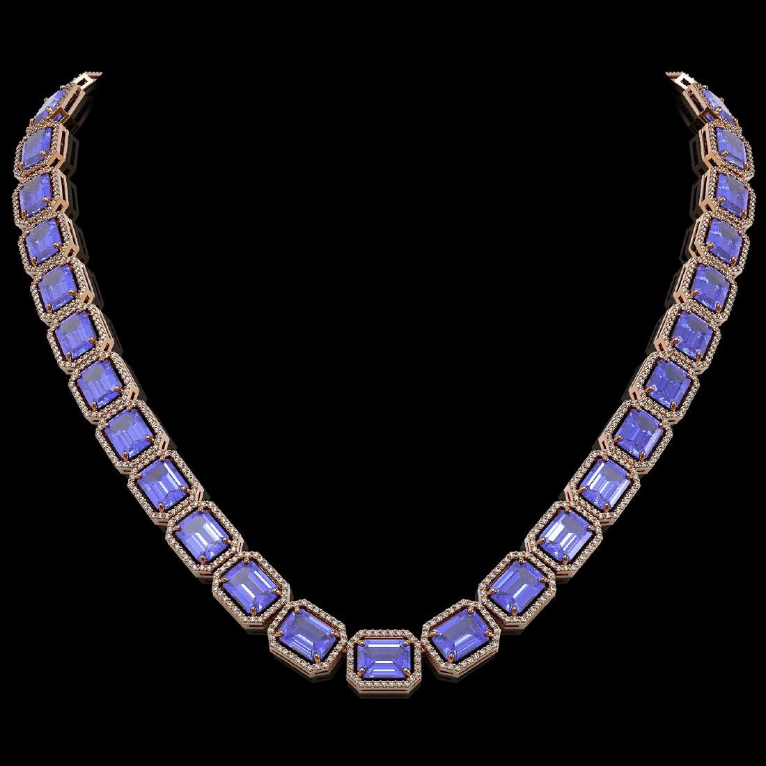 79.99 CTW Tanzanite & Diamond Halo Necklace 10K Rose