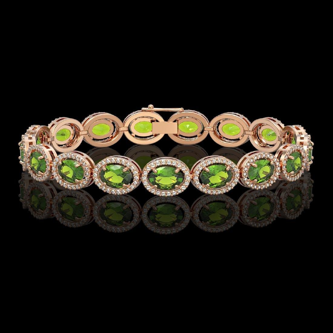 21.13 CTW Peridot & Diamond Halo Bracelet 10K Rose Gold