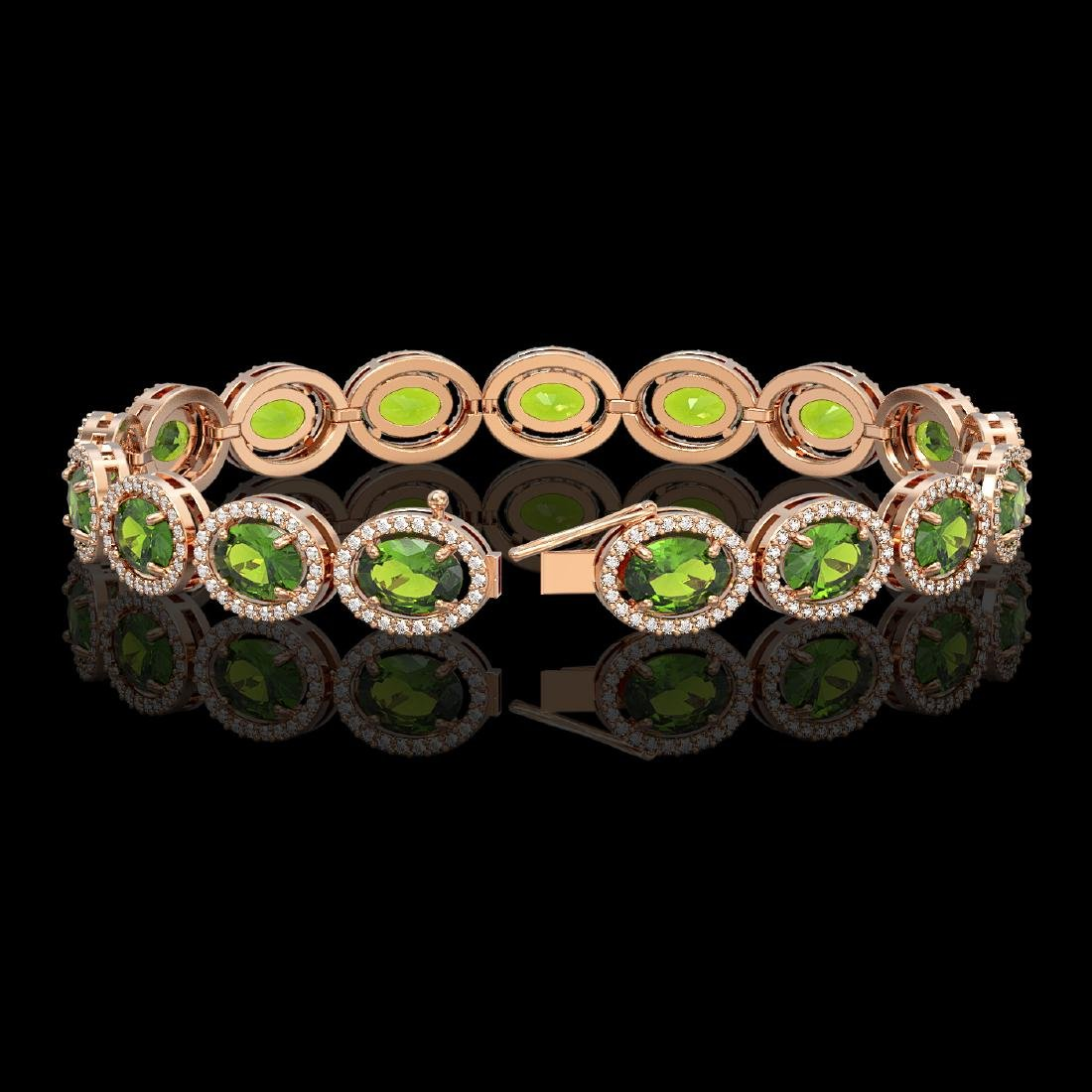 21.13 CTW Peridot & Diamond Halo Bracelet 10K Rose Gold - 2
