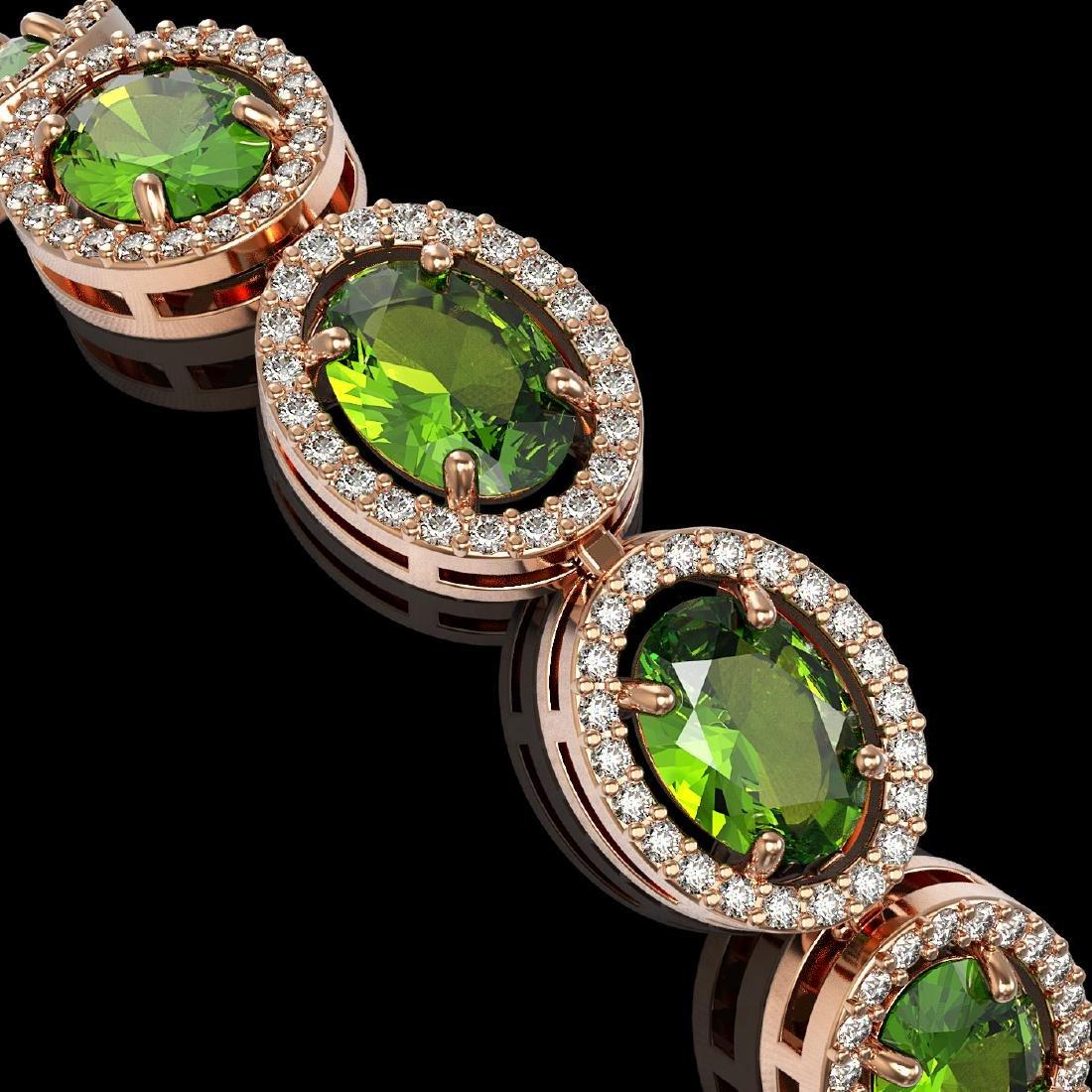 21.13 CTW Peridot & Diamond Halo Bracelet 10K Rose Gold - 3