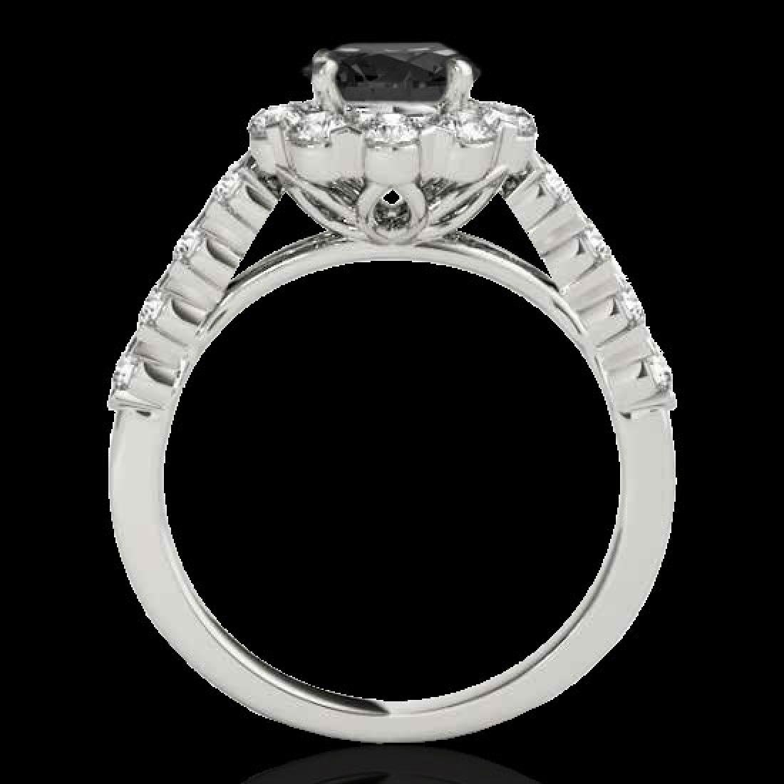 3 CTW Certified VS Black Diamond Solitaire Halo Ring - 2