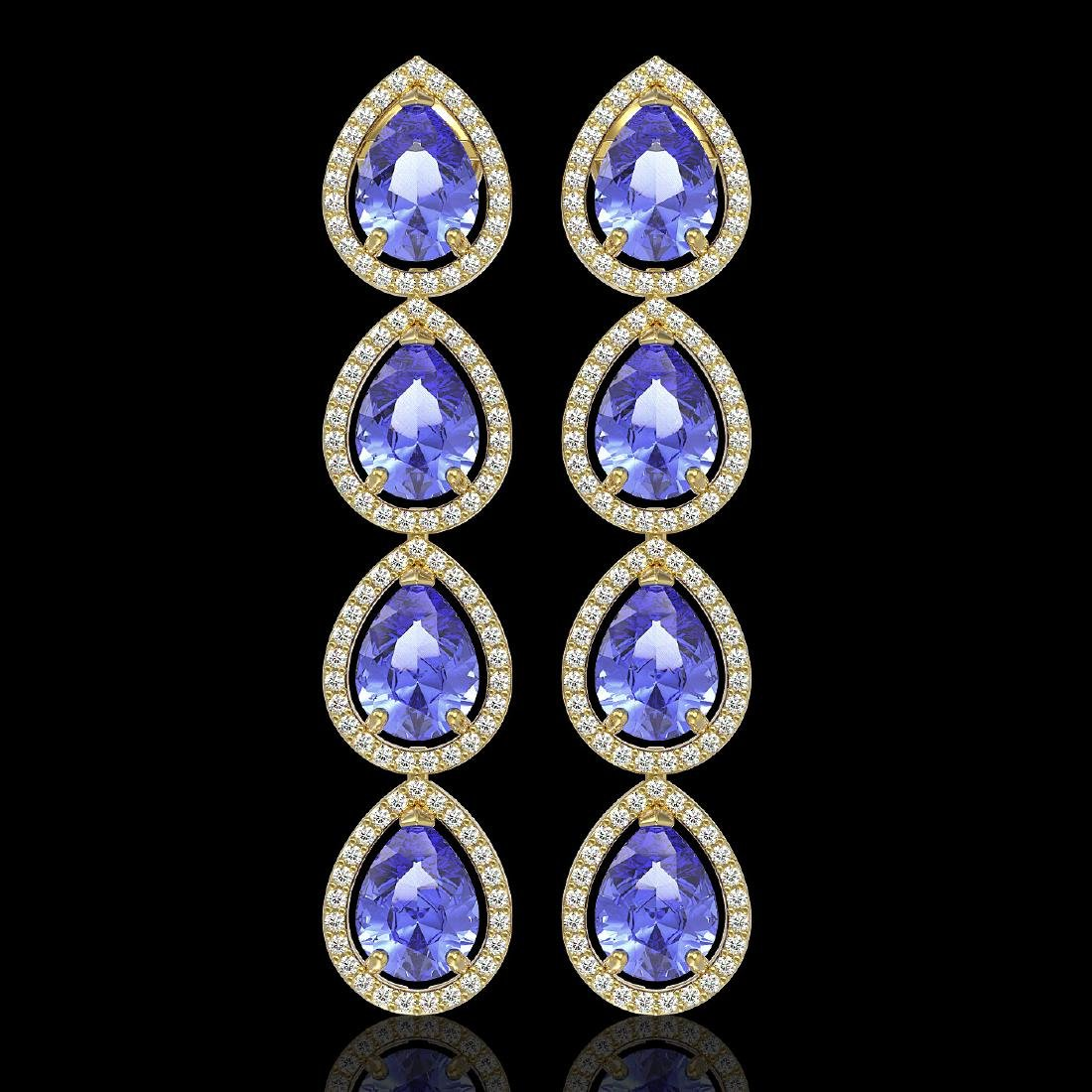 11.2 CTW Tanzanite & Diamond Halo Earrings 10K Yellow