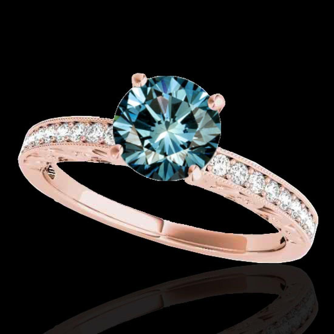 1.18 CTW SI Certified Blue Diamond Solitaire Antique