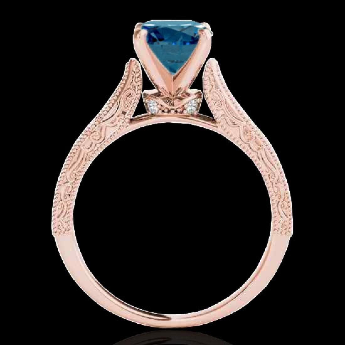 1.21 CTW SI Certified Blue Diamond Solitaire Antique - 2