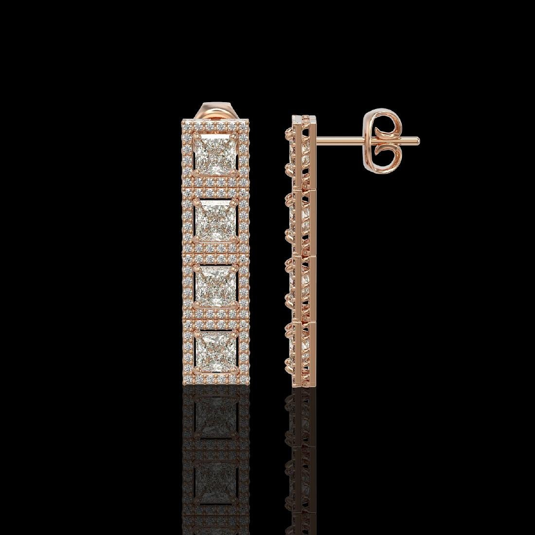 5.31 CTW Princess Diamond Designer Earrings 18K Rose - 2