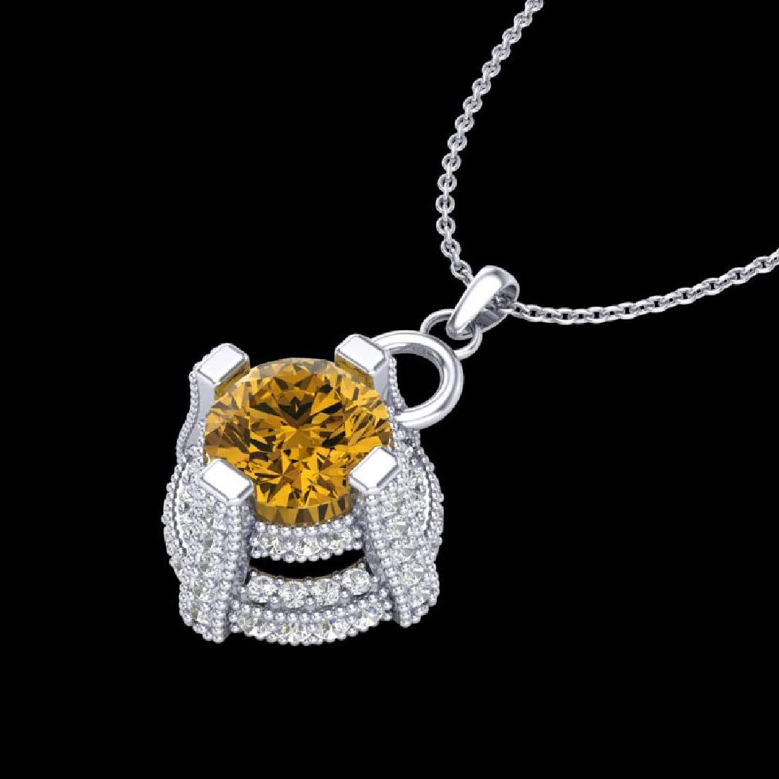 1.57 CTW Intense Fancy Yellow Diamond Micro Pave Stud - 2