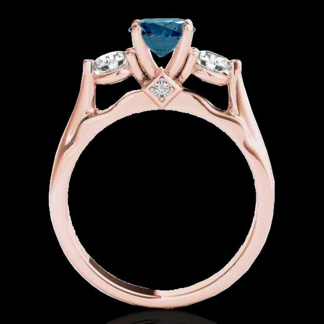 1.75 CTW SI Certified Fancy Blue Diamond 3 Stone Ring - 2