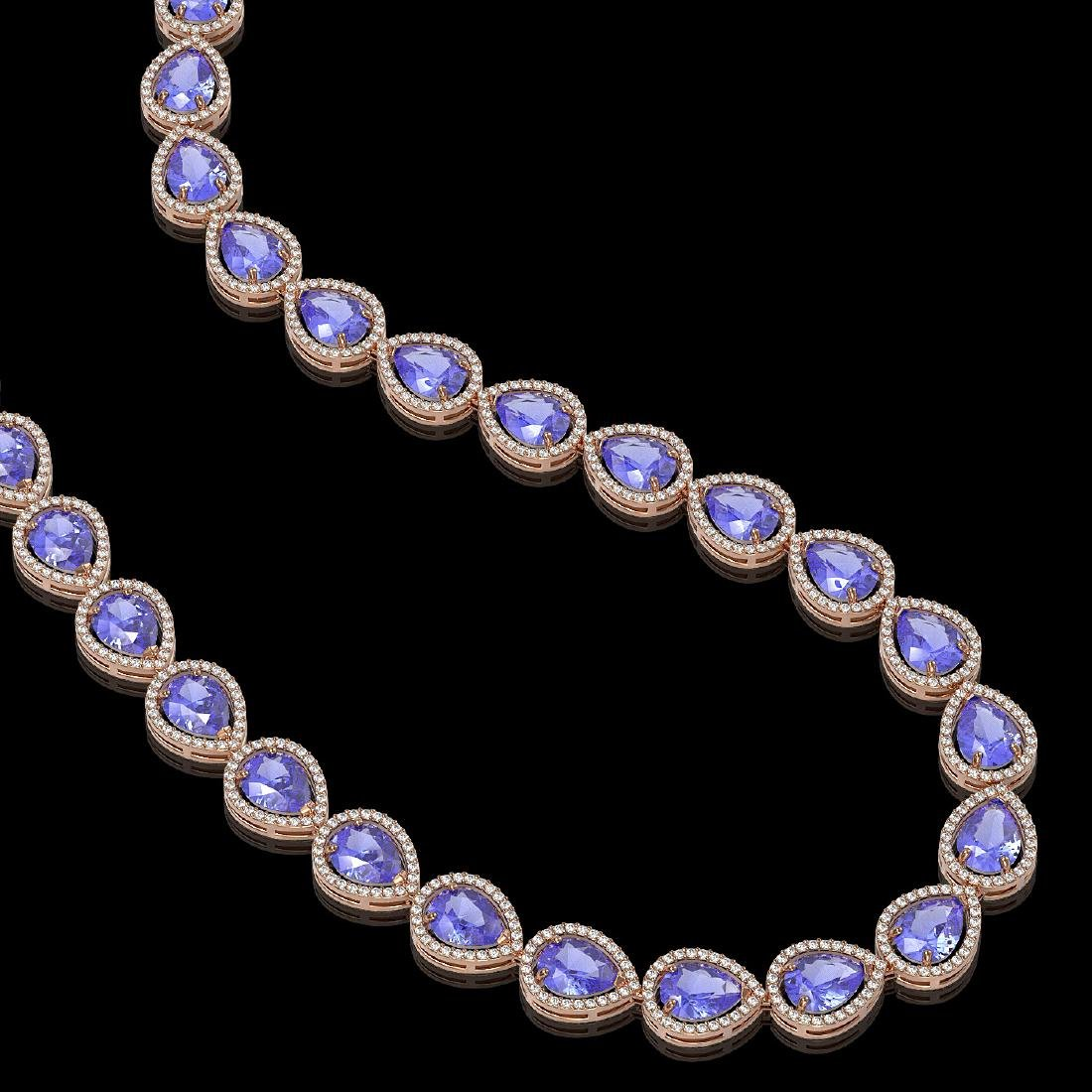 44.8 CTW Tanzanite & Diamond Halo Necklace 10K Rose - 2