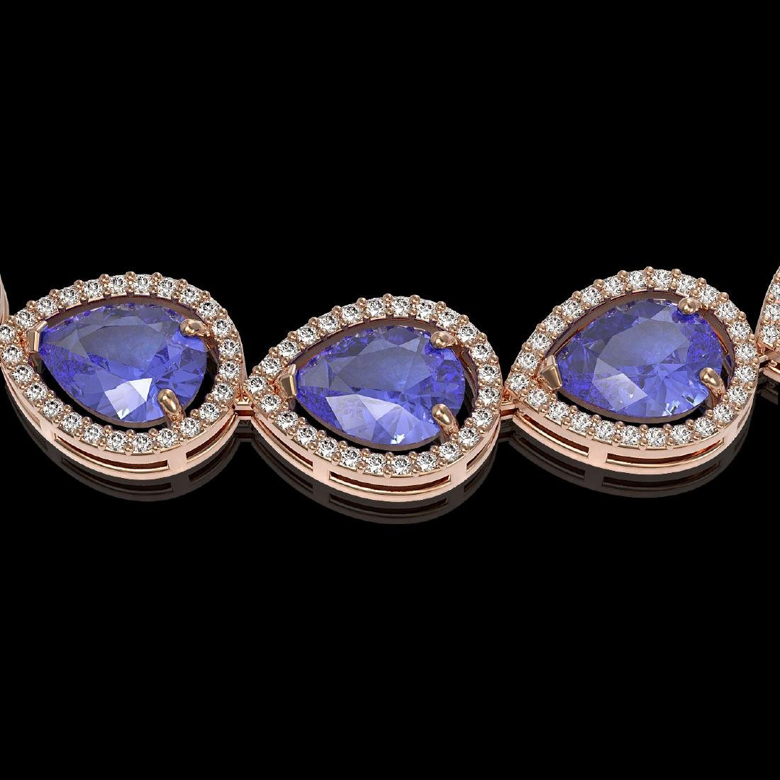 44.8 CTW Tanzanite & Diamond Halo Necklace 10K Rose - 3