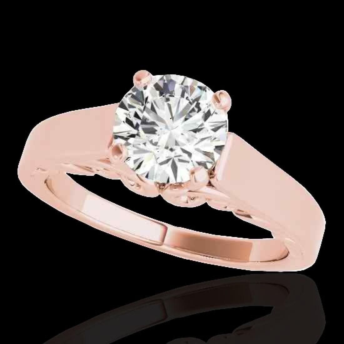 1 CTW H-SI/I Certified Diamond Solitaire Ring 10K Rose